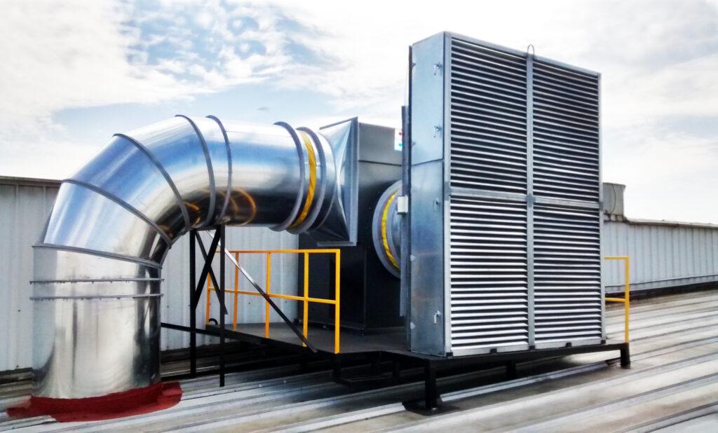 sistema de ventilación industrial, inyección y extracción