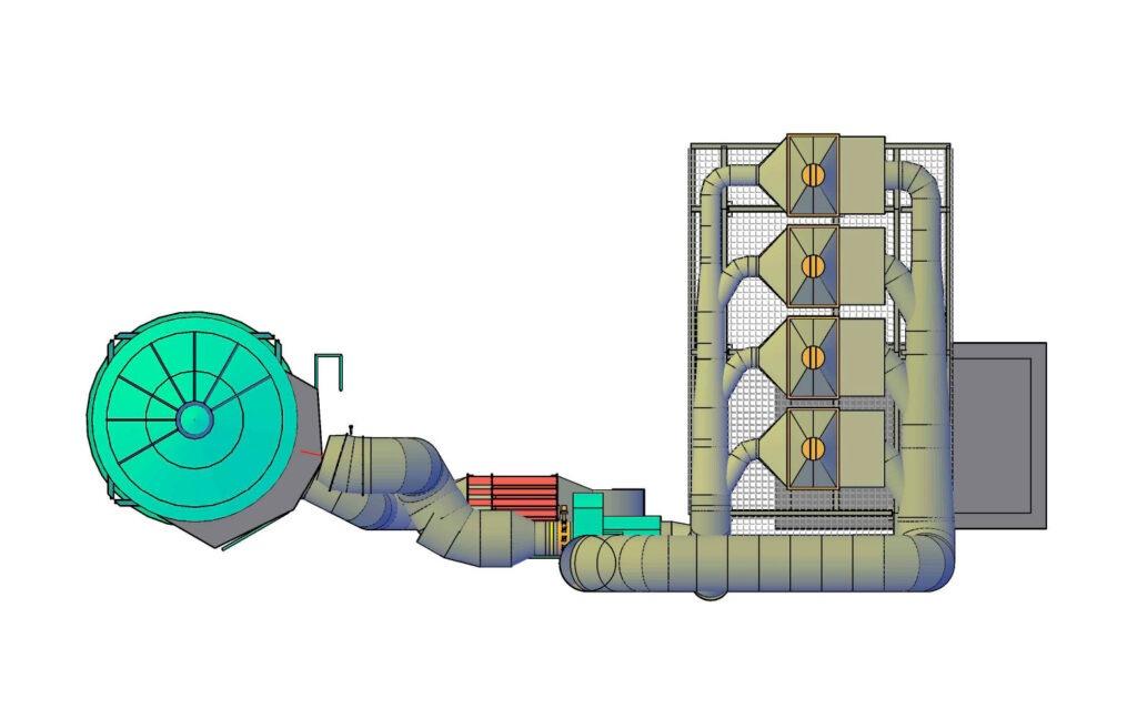 Dibujo isométroco ejemplificando un sistema de filtración de aire
