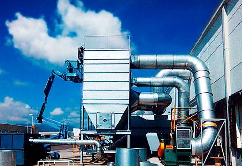 Sistema colecctor de polvo para filtración de aire industrial