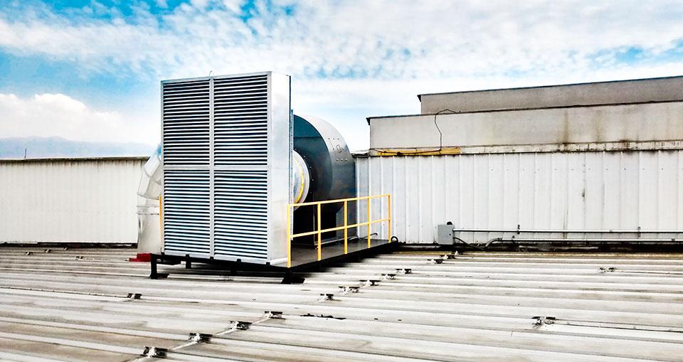 Sistema de inyección y extracción del aire para la industria